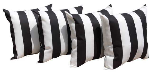 Beautifuldesignns Black And White Stripe Outdoor Pillows
