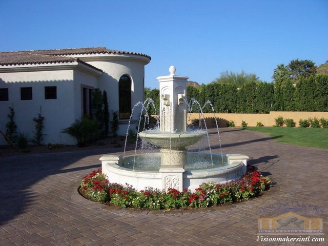Limestone fountain traditional outdoor fountains and for Garden fountains phoenix