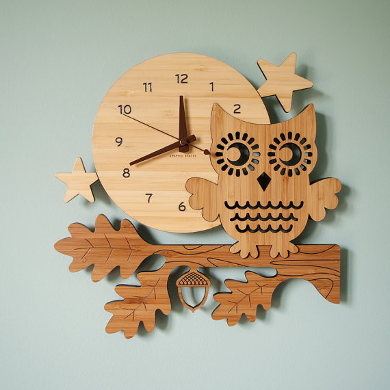 Night Owl Bamboo Wall Clock By Graphic Spaces eclectic clocks