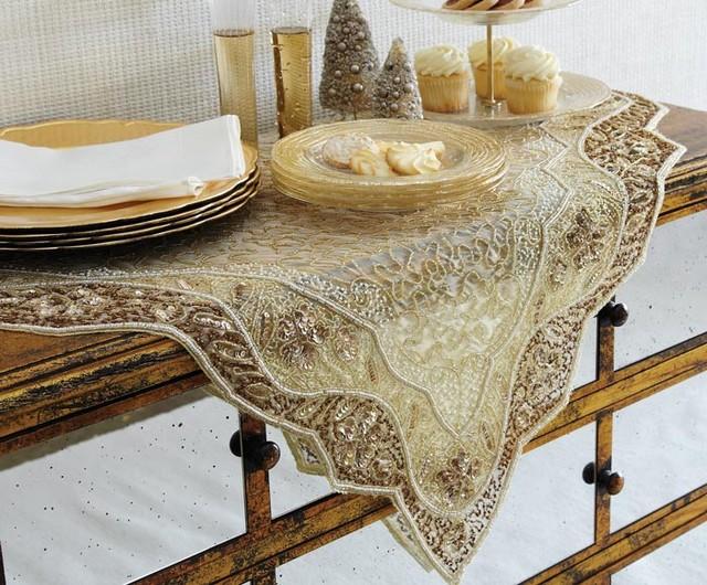 Golden Embroidered Table Linen Modern Tablecloths