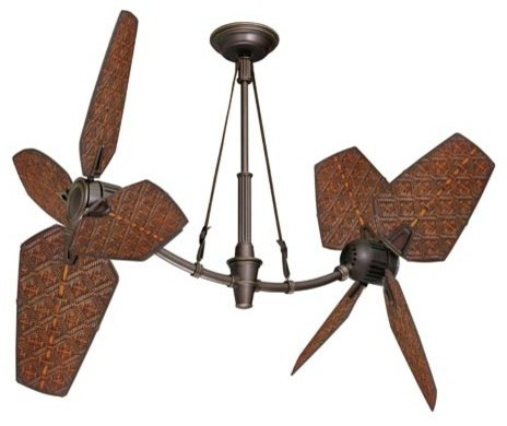 "52"" Oil-Rubbed Bronze Coix Outdoor Ceiling Fan w/ Aged Rattan Blades contemporary-ceiling-fans"