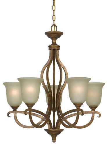 Emmett Vintage Gold Five-Light Iron Chandelier modern-chandeliers
