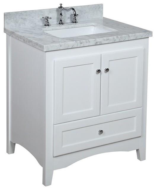 Abbey 30-in Bath Vanity (Carrara/White) - Transitional - Bathroom Vanity Units & Sink Cabinets ...
