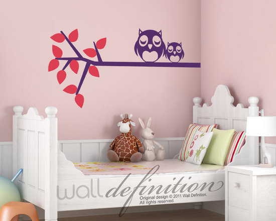 Mom and Baby Owls on Branch - Original design © 2012 Wall Definition.
