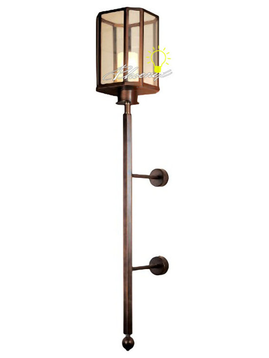 Large-sized Iron and Glass Wall Sconce in Painted Finish - Large-sized Iron and Glass Wall Sconce in Painted Finish