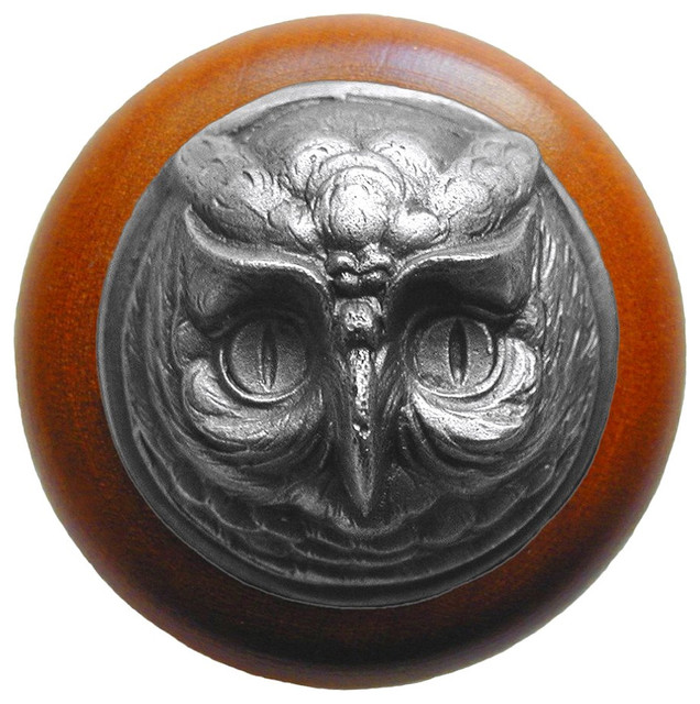 Notting Hill Wise Owl/Cherry Wood Knob - Antique Pewter modern-cabinet-and-drawer-knobs