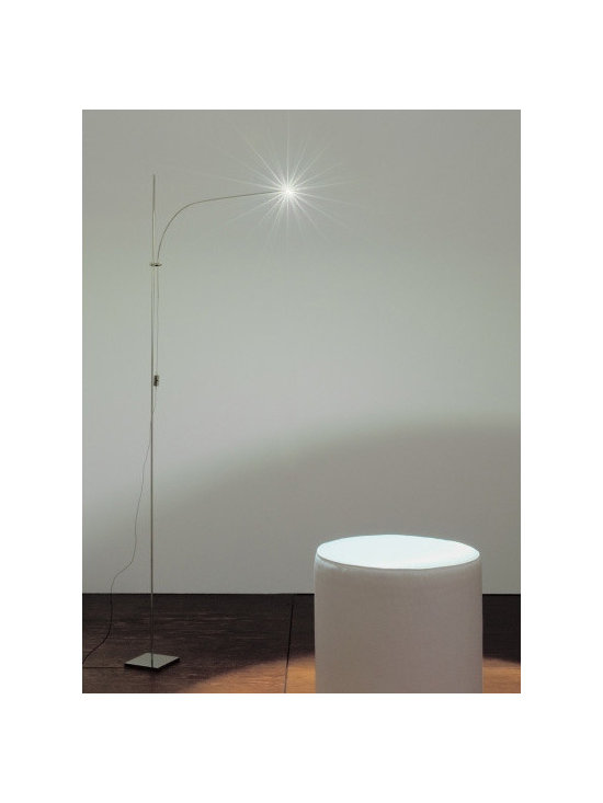 Catellani & Smith - Uau Terra Floor Lamp - UAU Terra Floor Lamp is made from a nickel-plated metal base and steel structure with a glass lens. One 1-watt LED lamps are included. Light color temperature available in warm white (2800K) or neutral white (4100K). LED driver is included. Dimensions: 4.7W x 59.1H x 4.7H.