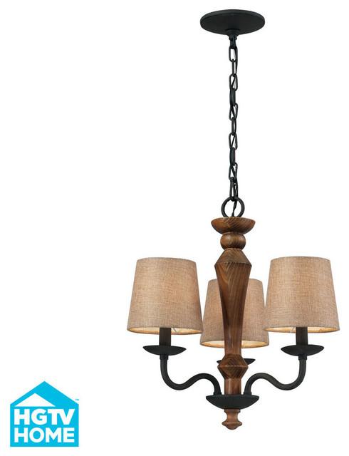 Elk Lighting 14132/3 Early American 3 Light Chandelier in Colonial Maple & Vinta contemporary-chandeliers
