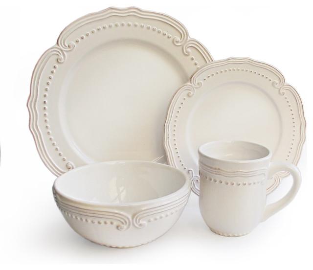 American Atelier Victoria White Dotted 16-piece Stoneware Dinnerware Set - Contemporary ...