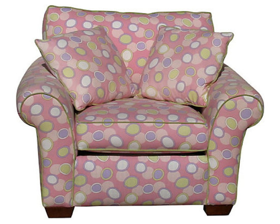 Custom - Whimsical Custom Pink Club Chair - Consigned - Whimsical, generously proportioned custom-made club chair with two matching pillows. Use the pillows with the chair or as an accent on other furniture to tie together the room decor.