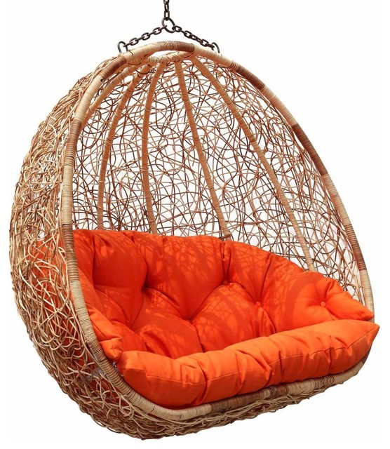 Estella  Dual Sitting Outdoor Wicker Swing Chair/Porch Hanging Chair contemporary-hammocks-and-swing-chairs