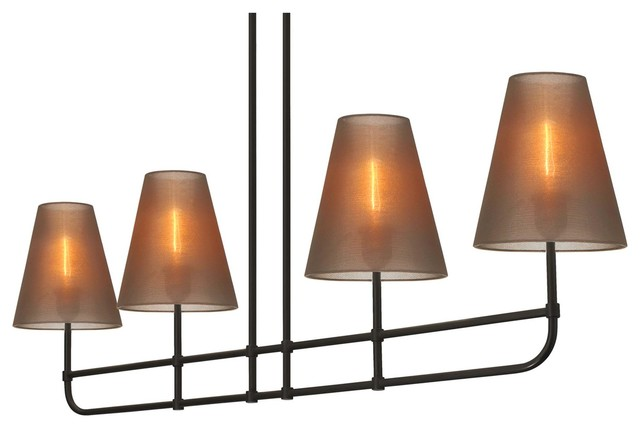 "Sonneman Bistro 4-Light 48"" Bar Pendant in Black Finish with Bronze Shade pendant-lighting"