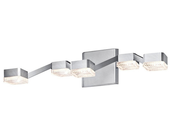 """Sonneman - Sonneman Lattice 20"""" Wide Clear Nickel LED Bathroom Light - Lattice 5-light bathroom light or wall sconce. By Sonneman. Bright satin aluminum finish. Clear crystal acrylic shades. Includes five 13 watt LEDs. Light output is 1050 lumens. Comparable to a 75 watt incandescent bulb. 3000K color temperature. CRI is 80. Dimmable. 20"""" wide. 4 3/4"""" high. Extends 8 1/4"""" from the wall. Backplate is 4 3/4"""" high 5"""" wide.  Lattice 5-light bathroom light or wall sconce.  By Sonneman.  Bright satin aluminum finish.  Clear crystal acrylic shades.  Includes five 13 watt LEDs.  Light output is 1050 lumens.  Comparable to a 75 watt incandescent bulb.  3000K color temperature.  CRI is 80.  Dimmable.  20"""" wide.  4 3/4"""" high.  Extends 8 1/4"""" from the wall.  Backplate is 4 3/4"""" high 5"""" wide."""