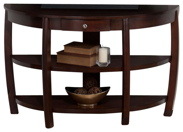 Jofran Riverside Brown Walnut 48x18 Demilune Sofa Table w/ Drawer contemporary-console-tables