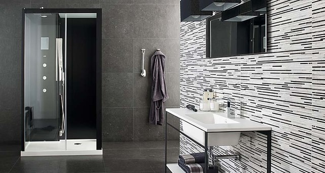 Treviso Black 12x35 wall tiles modern bathroom tile