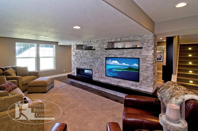 Basement Tv Wall Fireplace Modern Living Room