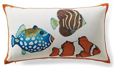 Outdoor Hand-painted School of Fish Lumbar Pillow - Frontgate tropical-outdoor-cushions-and-pillows