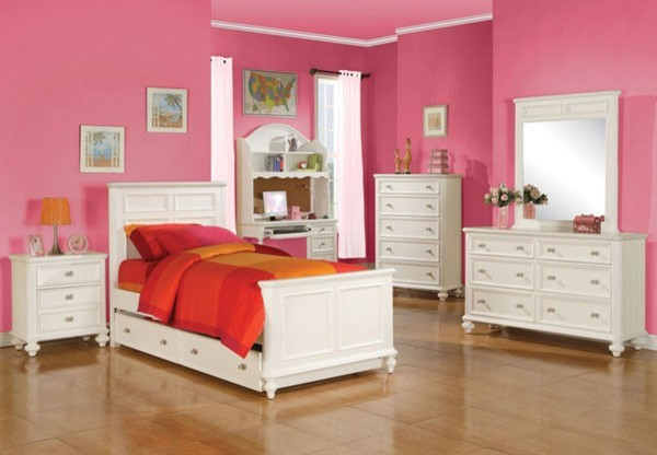 furniture athena transitional youth white 5 piece full bedroom set