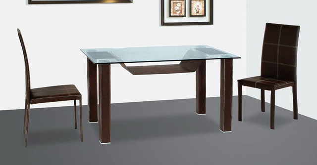 Elite Rectangular Wooden with Glass Top Dining Set Furniture - Contemporary - Dining Sets ...