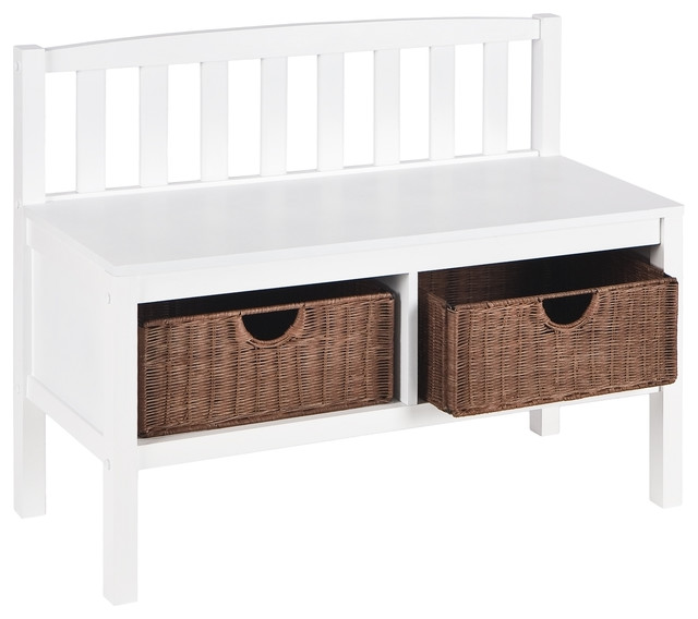 white bench with brown rattan baskets contemporary bedroom benches