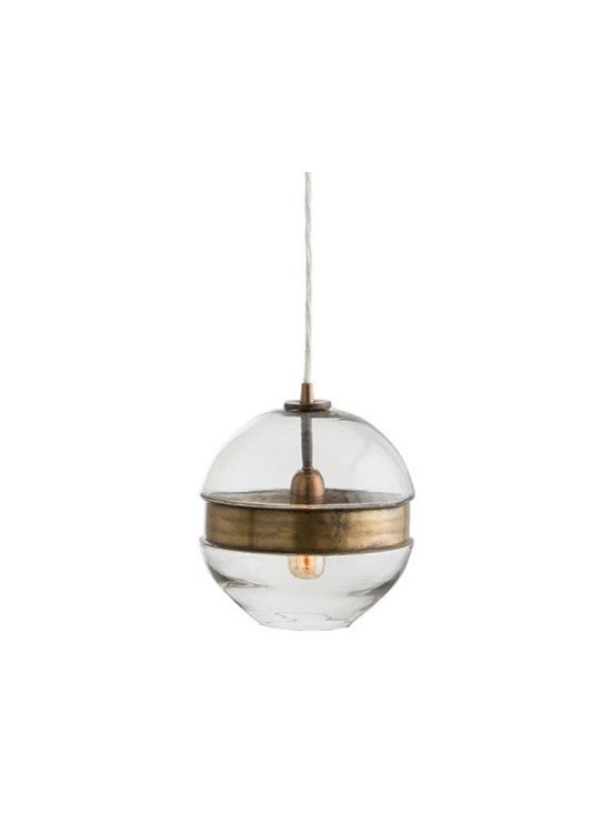 Arteriors Garrison Round Pendant - Molded clear glass sphere pendant cinched with a vintage brass belt. http://www.plumgoose.com/arteriors-garrison-round-pendant.html