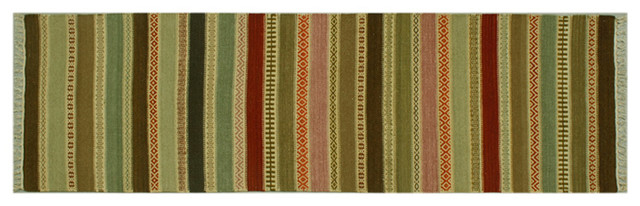 Oriental Rug Striped Hand Woven Durie Kilim Flat Weave 2.5'x8 Sh6316 rugs