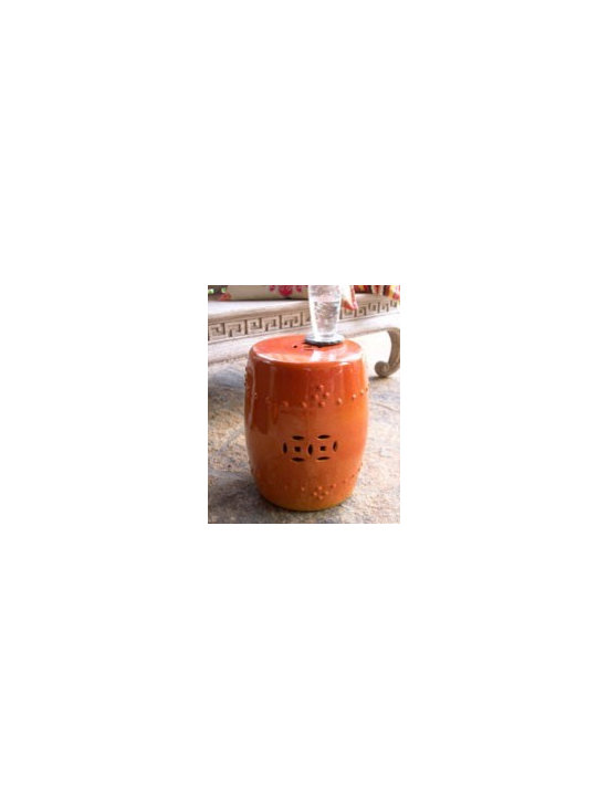 Orange Garden Seat - Classic garden seat commands your attention in a bright orange finish