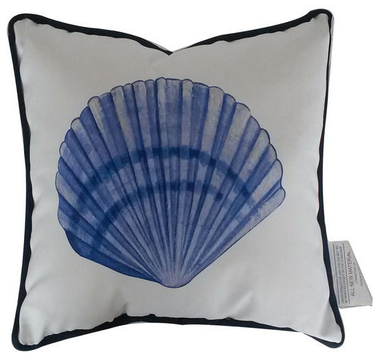 Blue and White Seashell Decorative Throw Pillow 10 - Beach Style - Decorative Pillows - by ...