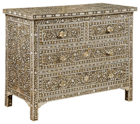 Bone Inlay Chest mediterranean dressers chests and bedroom armoires