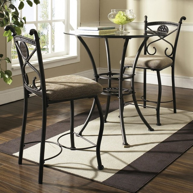 Counter Height Glass Dining Table : ... Glass Top 3-Piece Counter Height Dining Table - Modern - Dining Tables