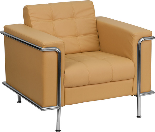 Lesley Contemporary Light Brown Leather Chair with Encasing Frame contemporary-armchairs-and-accent-chairs