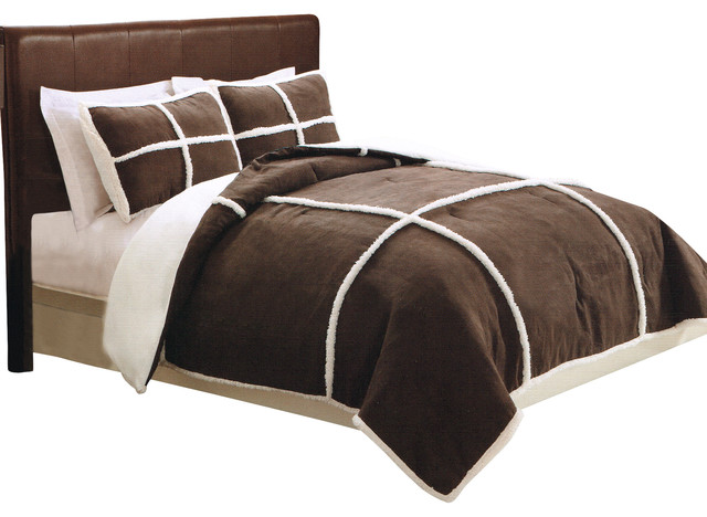 Microsuede Sherpa Full Queen Comforter With 2 Shams