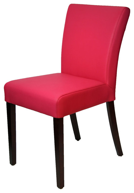 Pink leather dining room chair in low back contemporary for Low back parsons dining chair