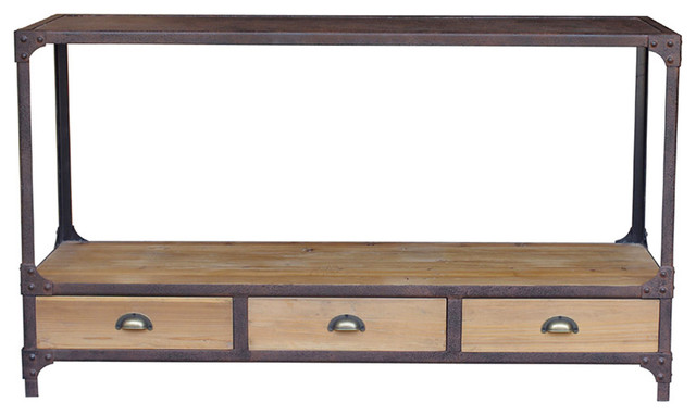Luca Reclaimed Wood Rustic Iron Industrial Loft Console Table transitional-console-tables