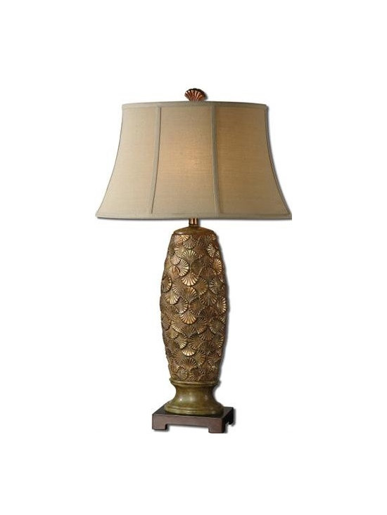 Uttermost Torricella - Heavily antiqued golden bronze ceramic with rust green accents and a dark bronze foot. The oval bell shade is a beige linen fabric with light slubbing.