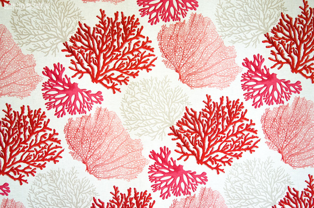 Red coral fabric pink salmon orange ocean eclectic