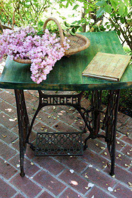 Little Furniture Lady: Antique Iron Singer Sewing Machine Table - Eclectic - Side Tables And End ...