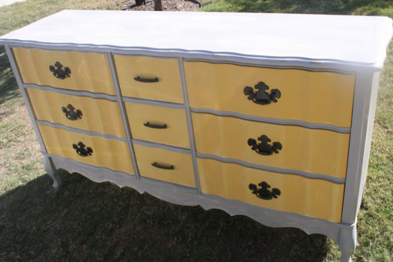 Vintage French Provincial Yellow and Gray by The Lacy Peacock traditional-dressers