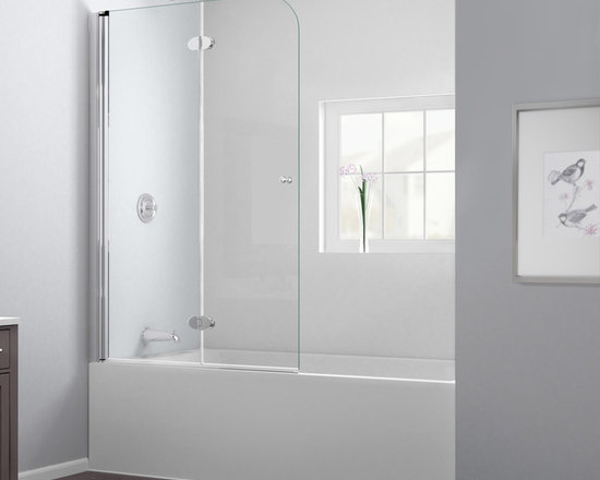 "Dreamline - AquaFold 36"" Frameless Hinged Tub Door, Clear 1/4"" Glass Door - The AquaFold tub door is the perfect combination of function and style. The frameless door makes a statement with sophisticated curved silhouette, while the practical feature of the bi-fold action offers convenience. Choose the AquaFold tub door for a unique and modern look at an attractive price point."