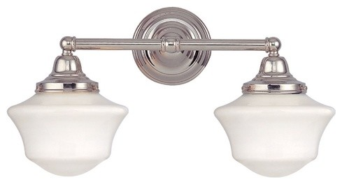 Schoolhouse Bathroom Light with Two Lights in Polished Nickel bathroom-accessories