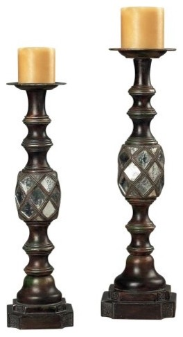 Sterling Accented Mirrored Candle Holders traditional candles and candle holders