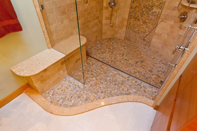 river rock shower with quick drain modern bathroom