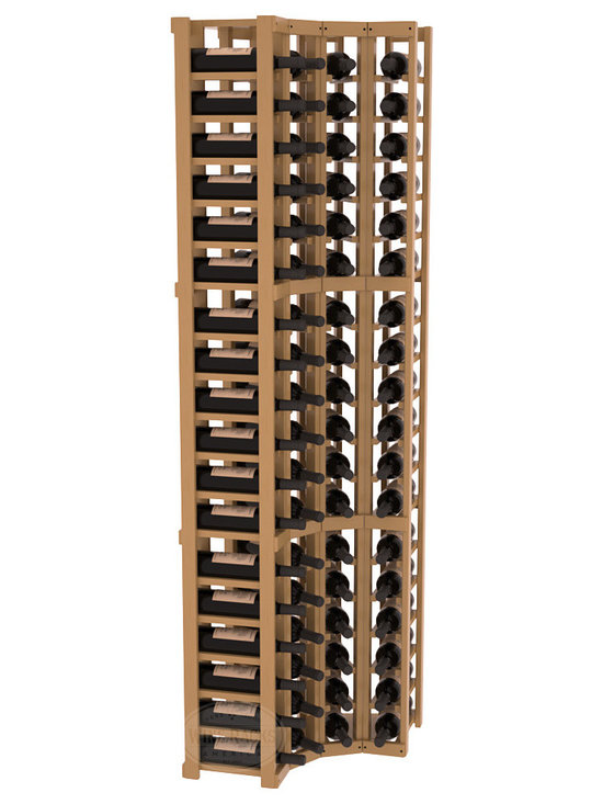 Wine Racks America® - 4 Column Wine Cellar Corner Kit in Pine, Oak Stain + Satin Finish - Get the most storage in your wine cellar with unique corner wine racks. We construct every rack to our industry-leading standards and back them up with our lifetime warranty. Designed with emphasis on functionality, these corner racks fit seamlessly into our modular line of wine racks.