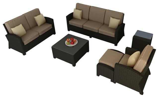 Barbados 6 Piece Outdoor Wicker Sofa Set, Spectrum Mushroom Cushions contemporary-patio-furniture-and-outdoor-furniture