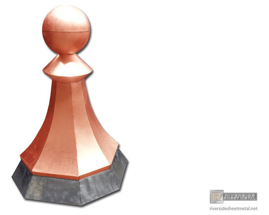 Custom made copper finial with ball and lead skirt - This beautifully designed octagon shaped finial features a copper ball and radius sides with different measurements. Fabricated with 20oz copper and lead for easy installation. All seams are thoroughly soldered or welded (for aluminum) to ensure longevity in bad weather conditions. Material thickness and type is subject to change as per customers specifications.