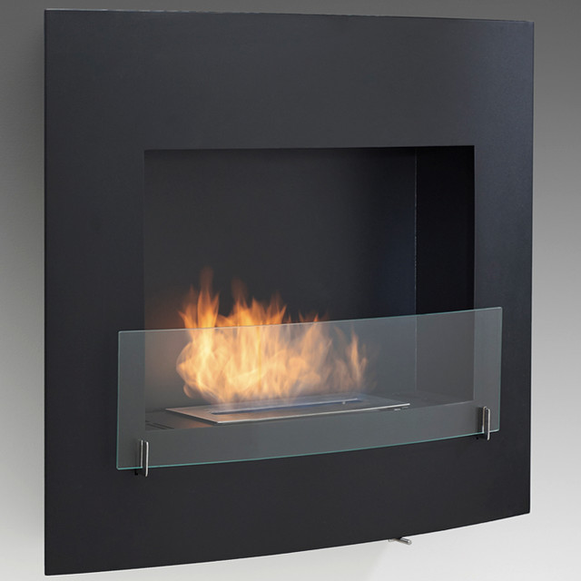 Wynn Wall Mounted Ventless Bio Ethanol Fireplace Matte Black Modern Indoor Fireplaces By