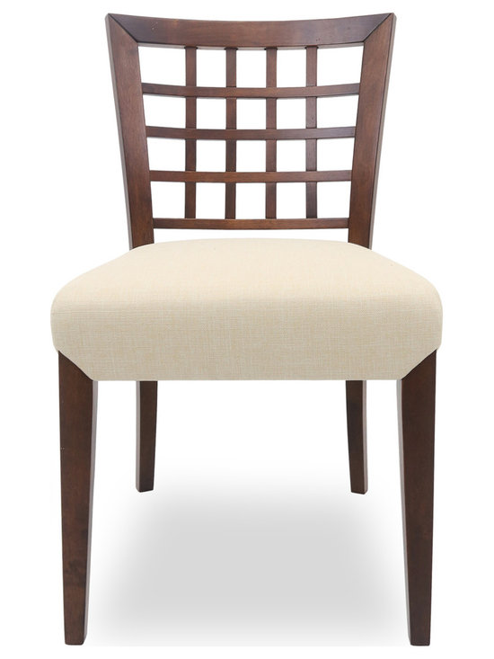 Bryght - Amanda Khaki Fabric Upholstered Cocoa Dining Chair - Add a touch of class with the Amanda fabric upholstered dining chair. A lovely solid wood latticed back, strengthened by angled joinery and a generously scaled upholstered seat affords maximum comfort without compromising on style. The Amanda dining chair is ideal for everyday use or dinner parties.