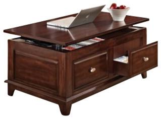 Mahir Walnut Finish Wood Lift Top Coffee Table With Storage Drawers Traditional Coffee