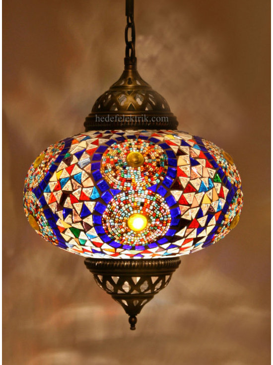 Turkish Style Colourful Mosaic Pendant Lamp 22 cm - Mosaic lamps are made of original colour of glasses. When the lamp is lit, the glasses cause colorful shades, which can suddenly change the ambiance of a room by its inspiring view. Noe of the glasses are painted nor applied a transaction. Each parts of the lamp are handmade.