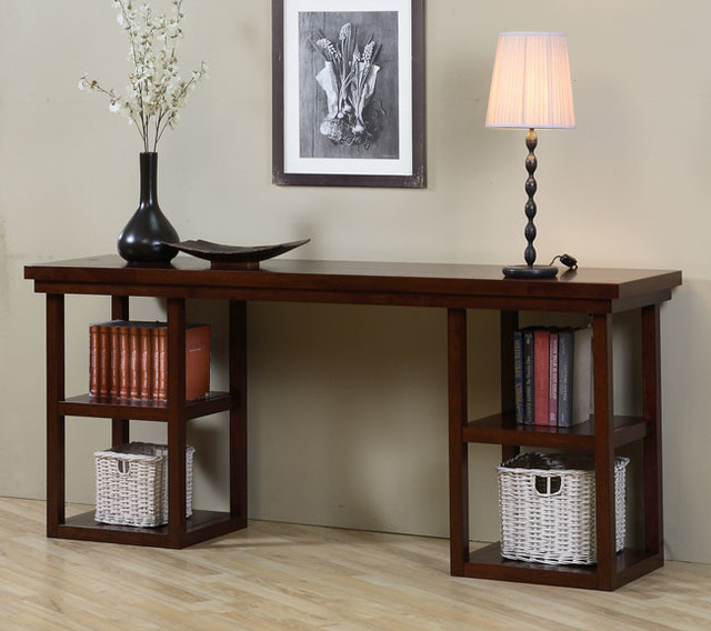 Walnut Cherry Ladder Console Table Contemporary Coffee